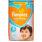 Подгузники PAMPERS Sleep and Play 5 Junior 11-16 кг 74шт.