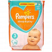 Подгузники PAMPERS Sleep and Play 3 6-10кг 78шт